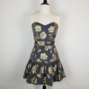Rubber Ducky Productions, Inc. Dresses - Rubber Ducky Metallic Strapless Cocktail Dress